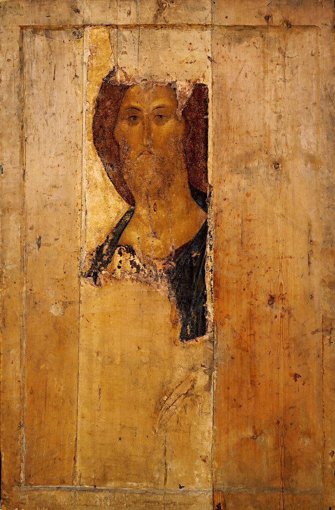 Stock Photo: 4266-24594 Salvator Mundi (Saviour of the World) by Rublev, Andrei (1360/70-1430)\ State Tretyakov Gallery, Moscow\ c.1410\ Tempera on panel\ 158x108\ Russia\ Russian icon painting\ Bible\ Painting