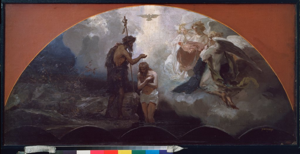 The Baptism of Christ by Siemiradzki, Henryk (1843-1902)\ State Russian Museum, St. Petersburg\ 1876\ Oil on cardboard\ 42x86\ Poland\ Academic art\ Bible\ Painting : Stock Photo