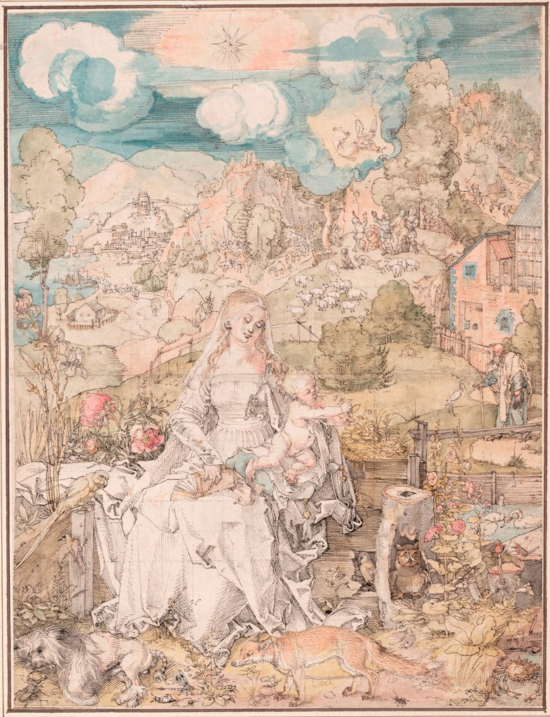 Stock Photo: 4266-24676 Mary among a Multitude of Animals by Durer, Albrecht (1471-1528)\ Albertina, Vienna\ ca 1503\ Pen, brush, watercolour, ink and white colour on paper\ 31,9x24,1\ Germany\ Renaissance\ Bible,Animals and Birds\ Graphic arts