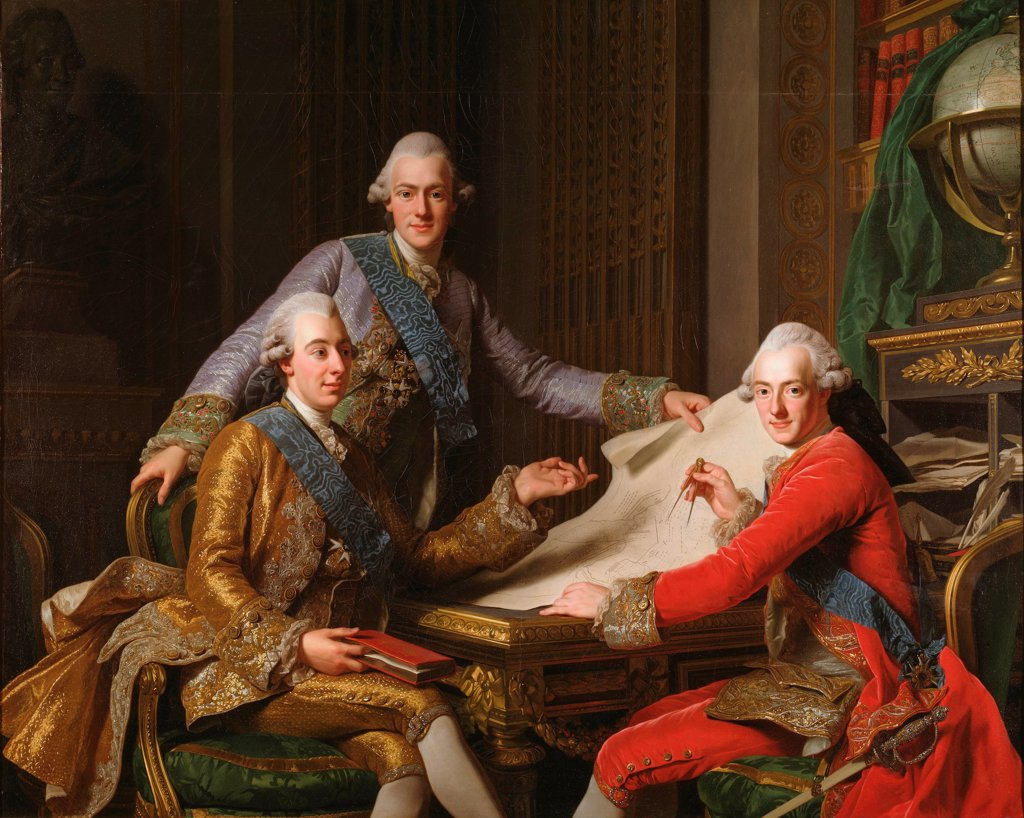 Stock Photo: 4266-24702 King Gustav III of Sweden and his Brothers by Roslin, Alexander (1718-1793)\ Nationalmuseum Stockholm\ 1771\ Oil on canvas\ 162x203\ Sweden\ Rococo\ Portrait\ Painting