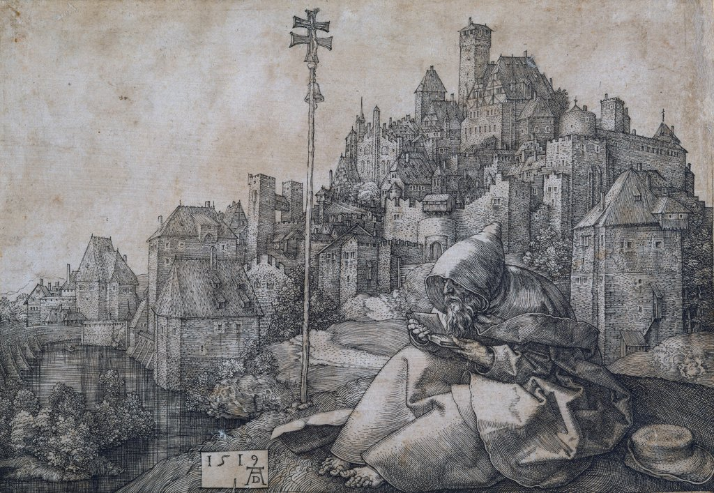 Saint Anthony in front of the town by Durer, Albrecht (1471-1528)\ Museu Nacional d'Art de Catalunya, Barcelona\ 1519\ Copper engraving\ 10x14,2\ Germany\ Renaissance\ Bible\ Graphic arts : Stock Photo