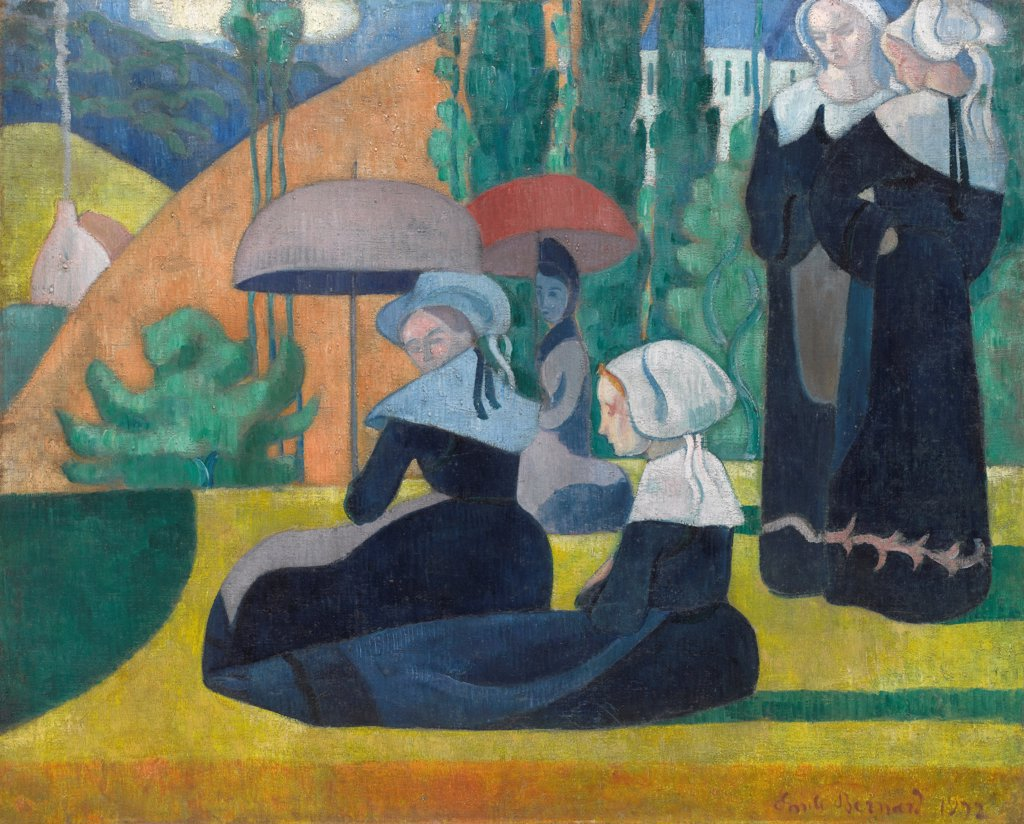 Stock Photo: 4266-24723 Breton Women with Umbrellas by Bernard, Emile (1868-1941)\ Musee d'Orsay, Paris\ 1892\ Oil on canvas\ 85x105\ France\ Postimpressionism\ Genre\ Painting