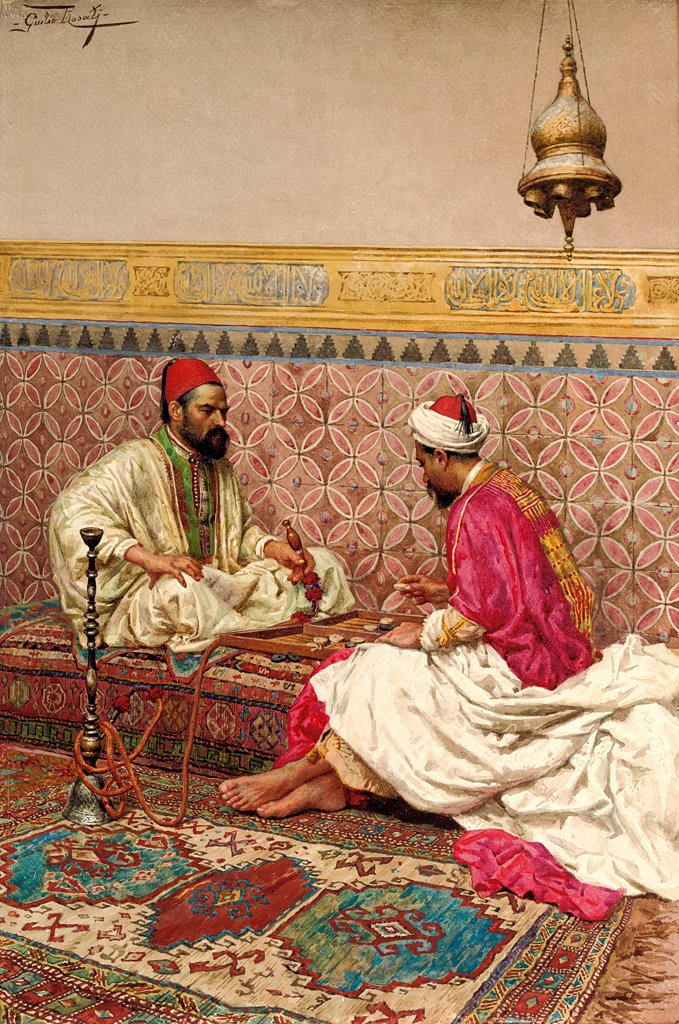 Stock Photo: 4266-24727 The backgammon players by Rosati, Giulio (1858-1917)\ Private Collection\ Watercolour on paper\ 53,5x35,7\ Italy\ Orientalism\ Genre\ Painting