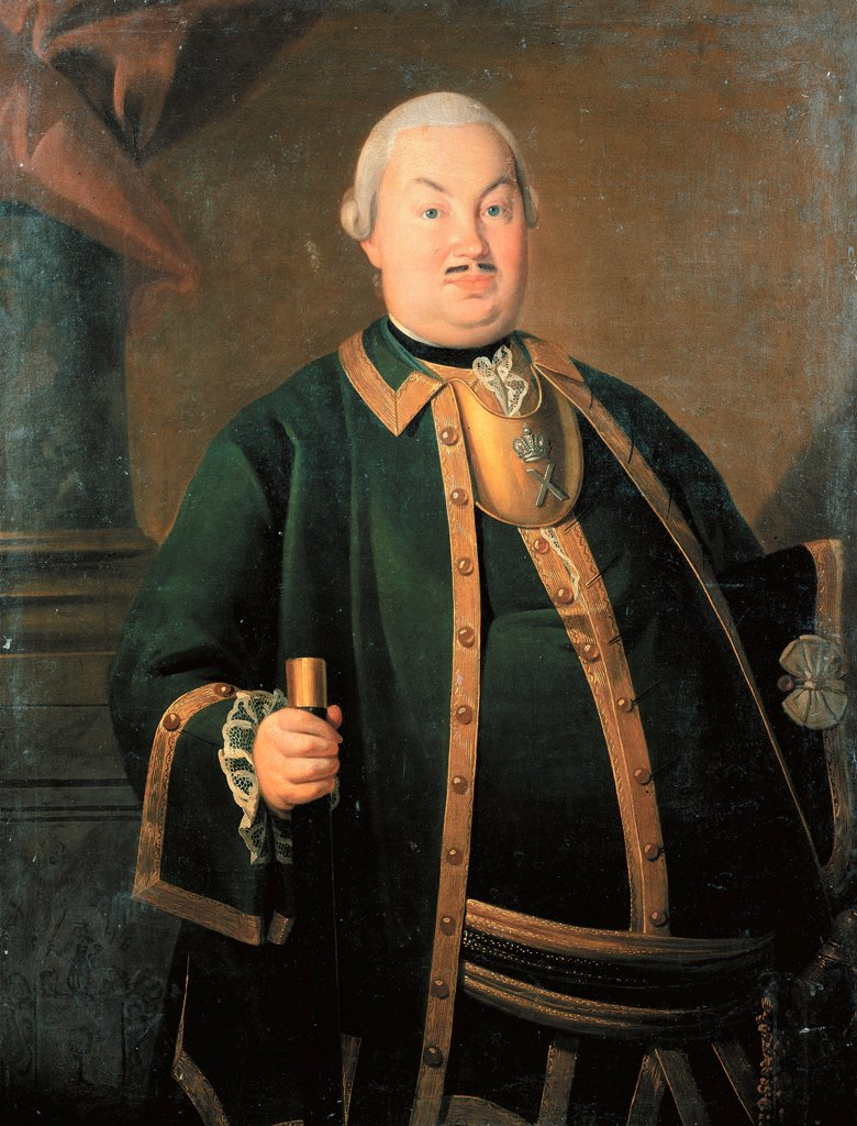 Portrait of the General Fyodor Berchman by Christineck, Carl Ludwig Johann (1732/3-1792/4)\ State History Museum, Moscow\ 1762\ Oil on canvas\ Germany\ Rococo\ Portrait\ Painting : Stock Photo