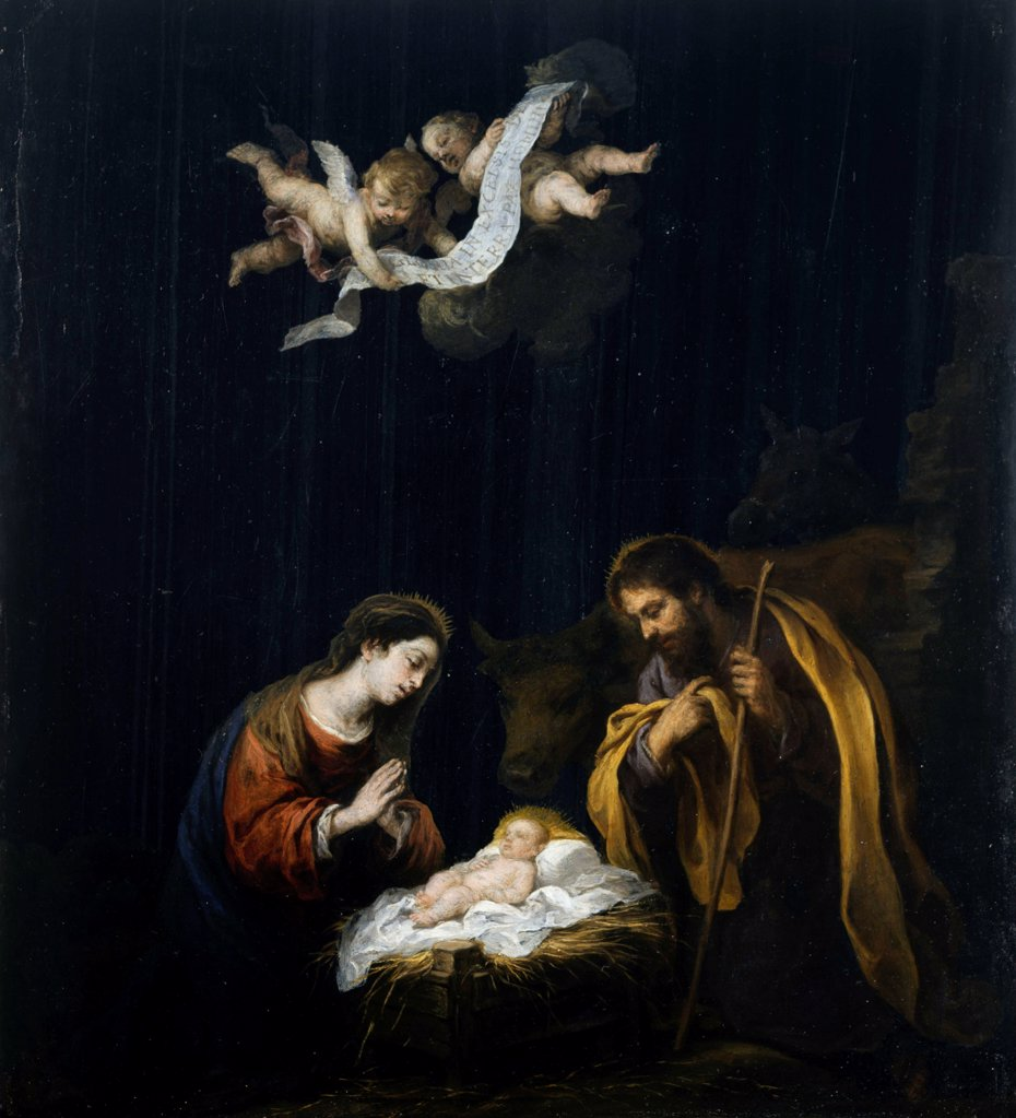 Stock Photo: 4266-24734 The Nativity by Murillo, Bartolome Esteban (1617-1682)\ Museum of Fine Arts, Houston\ ca 1668\ Oil on canvas\ 38,1x34,1\ Spain\ Baroque\ Bible\ Painting