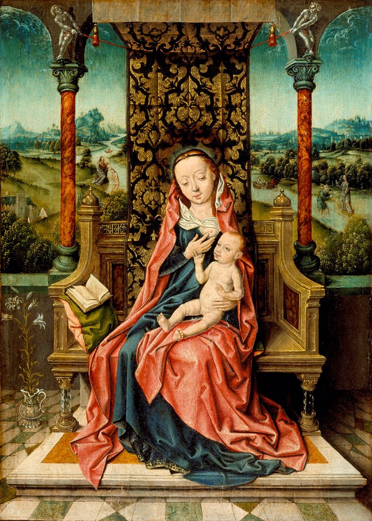 Stock Photo: 4266-24738 Madonna and Child Enthroned by Bouts, Aelbrecht (1451/54-1549)\ Los Angeles County Museum of Art\ c. 1510\ Oil on wood\ 31,1x23,5\ The Netherlands\ Early Netherlandish Art\ Bible\ Painting