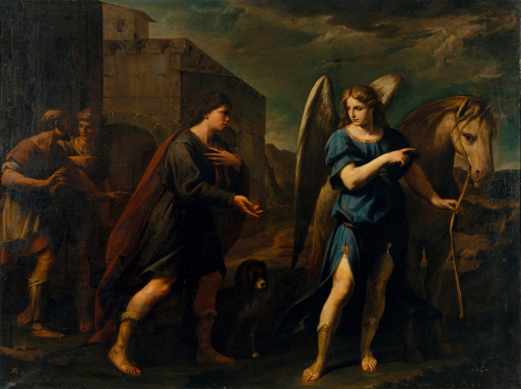Stock Photo: 4266-24739 Tobias Meets the Archangel Raphael by Vaccaro, Andrea (1604-1670)\ Museu Nacional d'Art de Catalunya, Barcelona\ c. 1640\ Oil on canvas\ 198,5x262\ Italy, School of Neaple\ Baroque\ Bible\ Painting