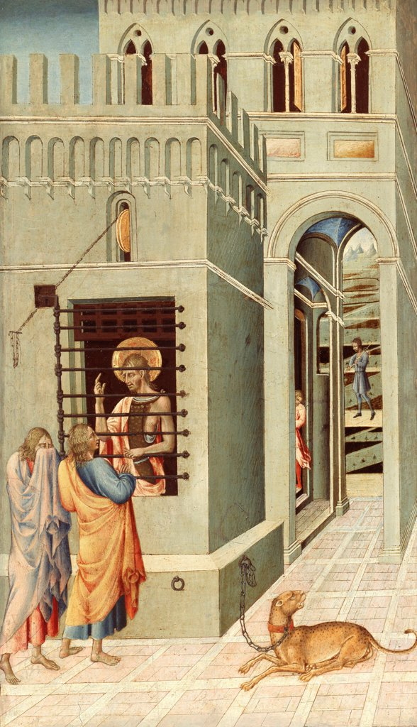 Stock Photo: 4266-24774 Saint John the Baptist in Prison Visited by Two Disciples by Giovanni di Paolo (ca 1403-1482)\ Art Institute of Chicago\ 1455-1460\ Tempera on panel\ 68,3x40\ Italy, School of Siena\ Renaissance\ Bible\ Painting