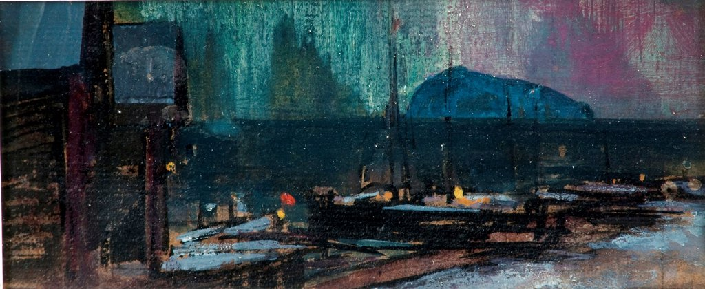 Stock Photo: 4266-24810 The northern lights in Norway by Korovin, Konstantin Alexeyevich (1861-1939)\ Private Collection\ 1902\ Tempera and Oil on canvas\ 9x19\ Russia\ Realism\ Landscape\ Painting