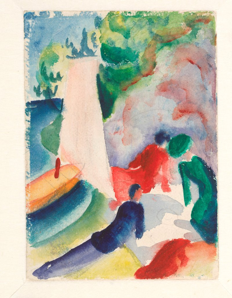 Stock Photo: 4266-24821 Picnic on the Beach (Picnic after Sailing) by Macke, August (1887-1914)\ Albertina, Vienna\ 1913\ Watercolour on cardboard\ 17,6x12,2\ Germany\ Expressionism\ Landscape,Genre\ Painting