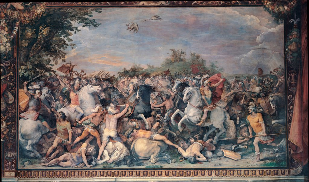 Battle against the inhabitants of Veii and Fidenae by Cesari, Giuseppe (1568-1640)\ Musei Capitolini, Rome\ 1598-1599\ Oil on canvas\ Italy, Roman School\ Mannerism\ History\ Painting : Stock Photo