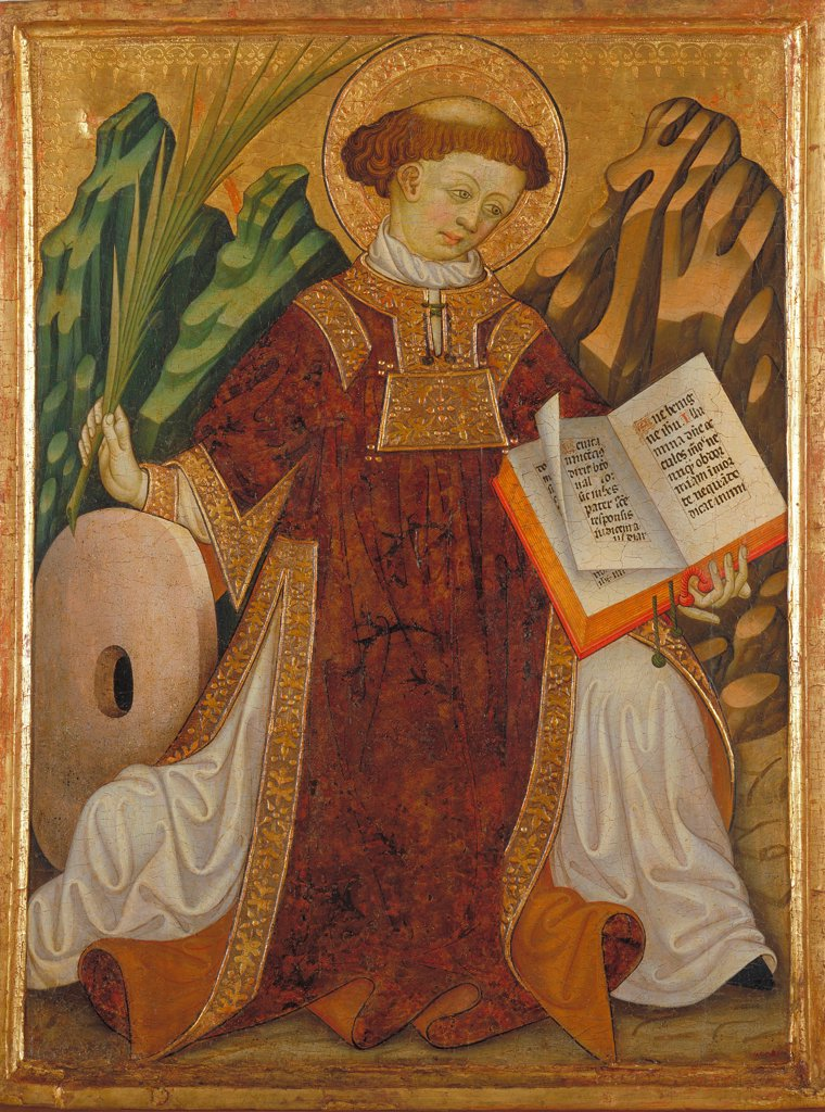 Stock Photo: 4266-24845 Saint Vincent by Zaortiga, Bonanat (active 15th century)\ Museu Nacional d'Art de Catalunya, Barcelona\ ca 1430\ Tempera on panel\ 80,2x61,5\ Spain\ Gothic\ Bible\ Painting