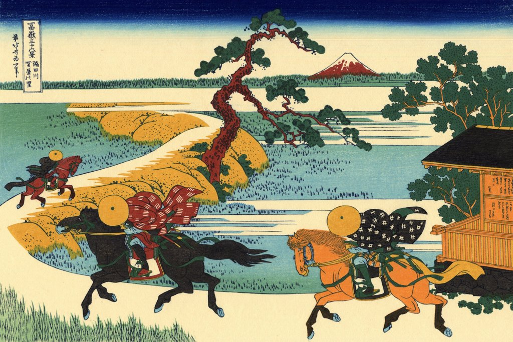 Stock Photo: 4266-2489 Warriors on horses by Katsushika Hokusai, color woodcut, 1830-1833, 1760-1849, Russia, Moscow, State A. Pushkin Museum of Fine Arts, 25x37
