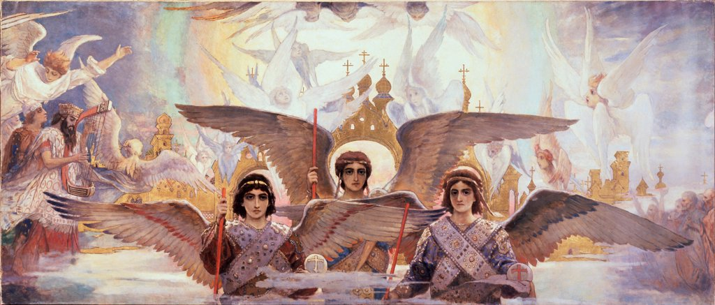 Stock Photo: 4266-24904 Before the Paradies (Central part) by Vasnetsov, Viktor Mikhaylovich (1848-1926)\ State Tretyakov Gallery, Moscow\ 1885-1896\ Oil on canvas\ 205x1446\ Russia\ Russian Painting, End of 19th - Early 20th cen.\ Bible\ Painting