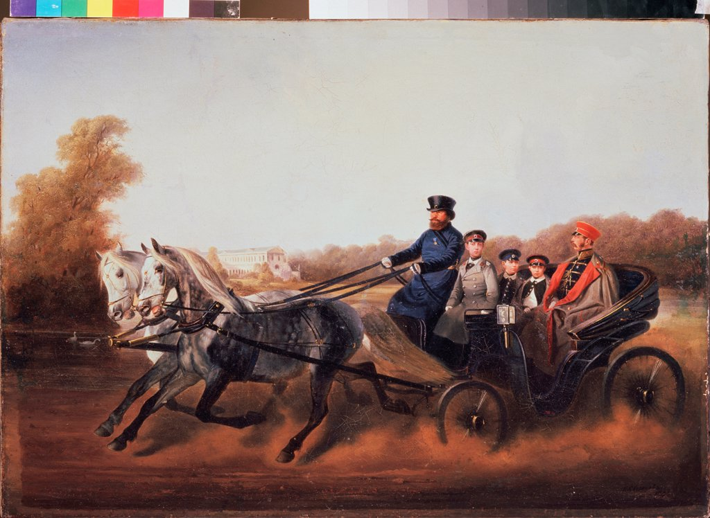 Emperor Alexander II with Sons in a carriage at Tsarskoye Selo by Sverchkov, Nikolai Yegorovich (1817-1898)\ State Art Museum, Yaroslavl\ 1850s\ Oil on canvas\ Russia\ Russian Painting of 19th cen.\ Portrait,Genre\ Painting : Stock Photo