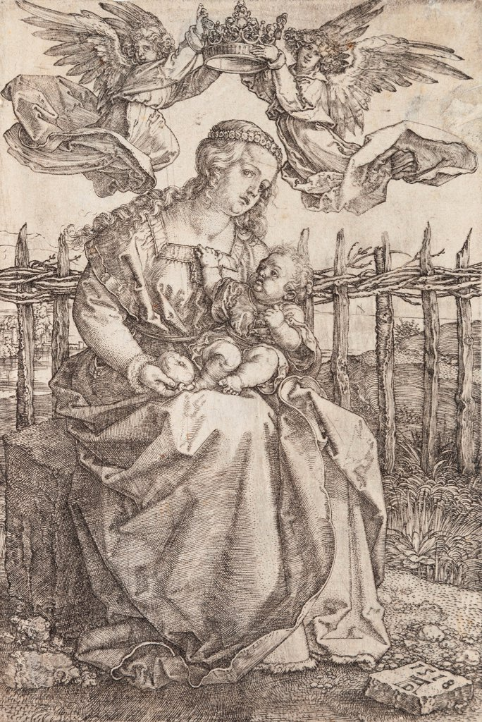 Stock Photo: 4266-24926 Virgin Mary Crowned By Two Angels by Durer, Albrecht (1471-1528)\ National Gallery, Prague\ 1518\ Copper engraving\ 16,5x11\ Germany\ Renaissance\ Bible\ Graphic arts