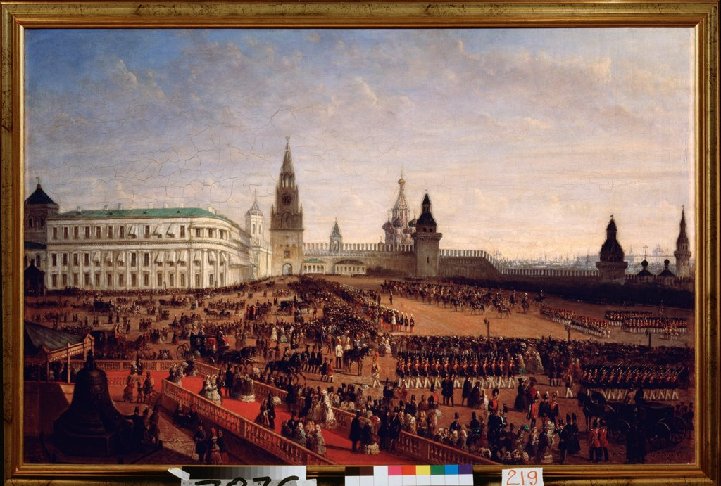 Military parade during the Coronation of the Emperor Alexander II in the Moscow Kremlin on 18th February 1855 by Schwarz, Gustav (ca. 1800-after 1855)\ State History Museum, Moscow\ 1856\ Oil on canvas\ Germany\ German Painting of 19th cen.\ History\ Pai : Stock Photo