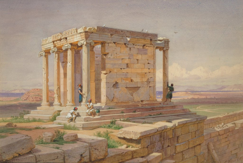 The Temple of Athena Nike. View from the North-East by Werner, Carl Friedrich Heinrich (1808-1894)\ Benaki Museum, Athens\ 1877\ Oil on canvas\ 32x55\ Germany\ Romanticism\ Architecture, Interior,Landscape\ Painting : Stock Photo