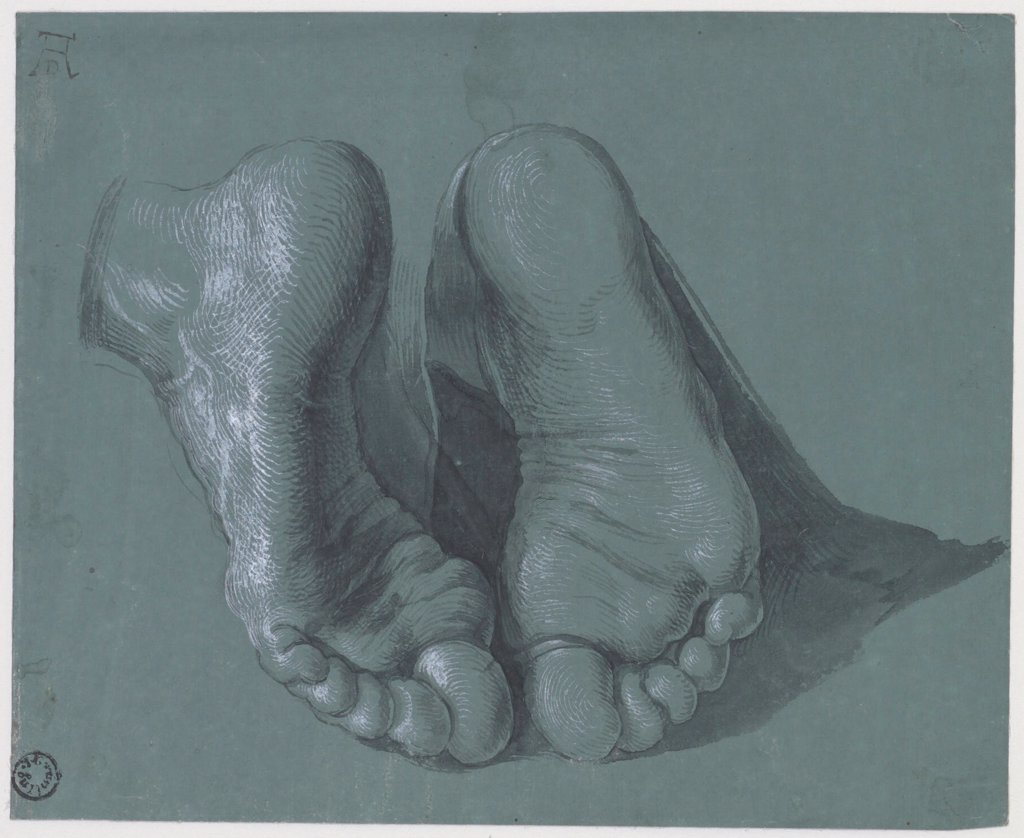 Stock Photo: 4266-25037 Study of Two Feet by Durer, Albrecht (1471-1528)\ Museum Boijmans Van Beuningen, Rotterdam\ c.1508\ Watercolour, white colour, black chalk on paper\ 17,6x21,6\ Germany\ Renaissance\ Genre\ Graphic arts