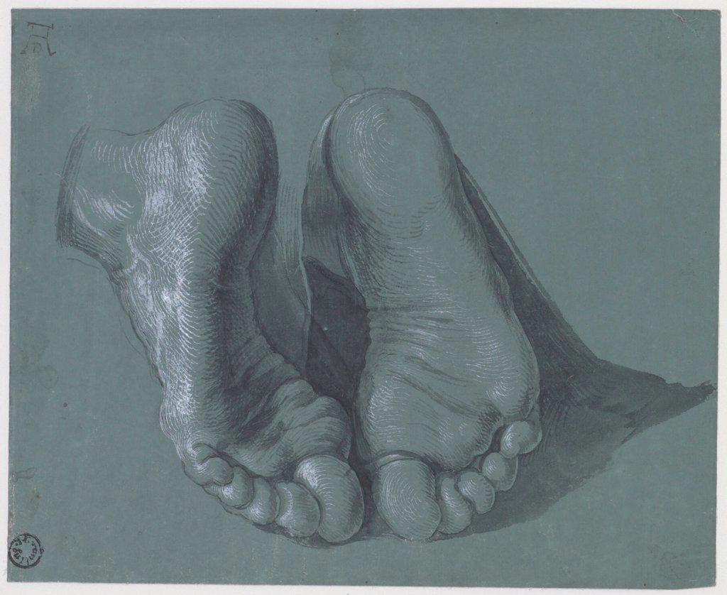 Stock Photo: 4266-25037 Study of Two Feet by Durer, Albrecht (1471-1528)\ Museum Boijmans Van Beuningen, Rotterdam\ c.1508\ Watercolour, white colour, black chalk on paper\ 17,6x21,6\ Germany\ Renaissance\ Genre\ Graphic arts