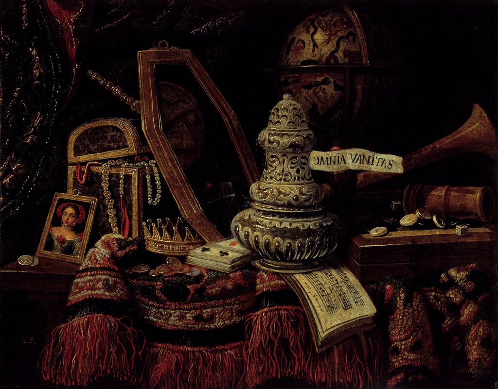 Vanity by French master  \ Private Collection\ 1670\ Oil on canvas\ 50x64\ France\ Baroque\ Still Life\ Painting : Stock Photo