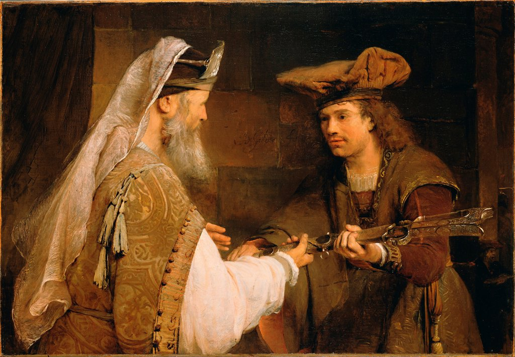 Stock Photo: 4266-25145 Ahimelech giving the sword of Goliath to David by Gelder, Aert de (1645-1727)\ J. Paul Getty Museum, Los Angeles\ 1680s\ Oil on canvas\ 90,2x132,1\ Holland\ Baroque\ Bible\ Painting