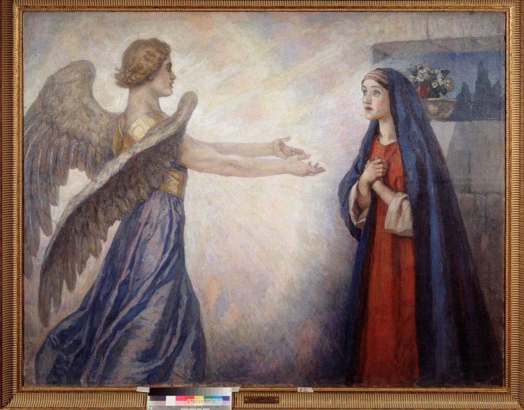 Stock Photo: 4266-25187 The Annunciation by Surikov, Vasili Ivanovich (1848-1916)\ State V. Surikov Art Museum, Krasnoyarsk\ 1914\ Oil on canvas\ 160x206\ Russia\ Russian Painting, End of 19th - Early 20th cen.\ Bible\ Painting