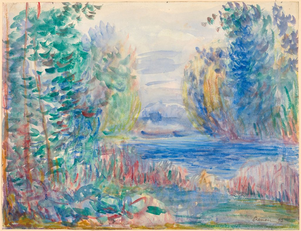 Stock Photo: 4266-25190 River Landscape by Renoir, Pierre Auguste (1841-1919)\ Albertina, Vienna\ 1890\ Watercolour on paper\ 25,4x33,8\ France\ Impressionism\ Landscape\ Painting