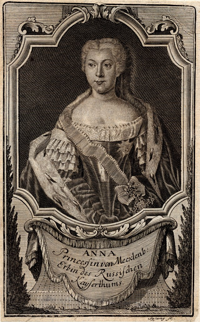 Stock Photo: 4266-25193 Portrait of Princess Anna Leopoldovna (1718-1746), tsar's Ivan VI mother by Sysang, Johann Christoph (1703-1757)\ State History Museum, Moscow\ 1739\ Etching\ Germany\ Rococo\ Portrait\ Graphic arts