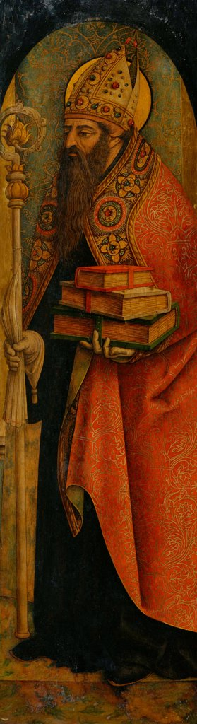 Saint Augustine by Crivelli, Carlo (c. 1435-c. 1495)\ National Museum of Western Art, Tokyo\ 1480s\ Tempera on panel\ 140,7x39,5\ Italy, Venetian School\ Renaissance\ Bible\ Painting : Stock Photo