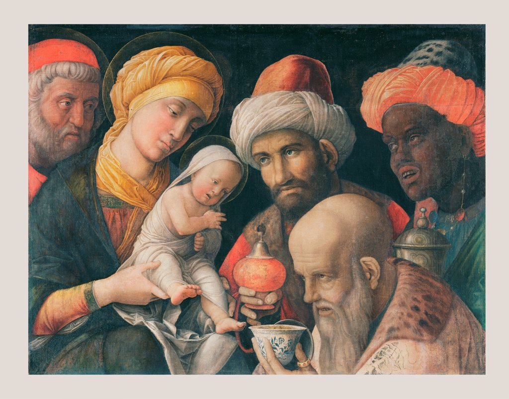 The Adoration of the Magi by Mantegna, Andrea (1431-1506)\ J. Paul Getty Museum, Los Angeles\ c. 1500\ Tempera on canvas\ 48,6x65,6\ Italy, School of Mantua\ Renaissance\ Bible\ Painting : Stock Photo