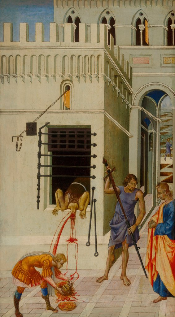 The Beheading of Saint John the Baptist by Giovanni di Paolo (ca 1403-1482)\ Art Institute of Chicago\ 1455-1460\ Tempera on panel\ 68,6x39,1\ Italy, School of Siena\ Renaissance\ Bible\ Painting : Stock Photo