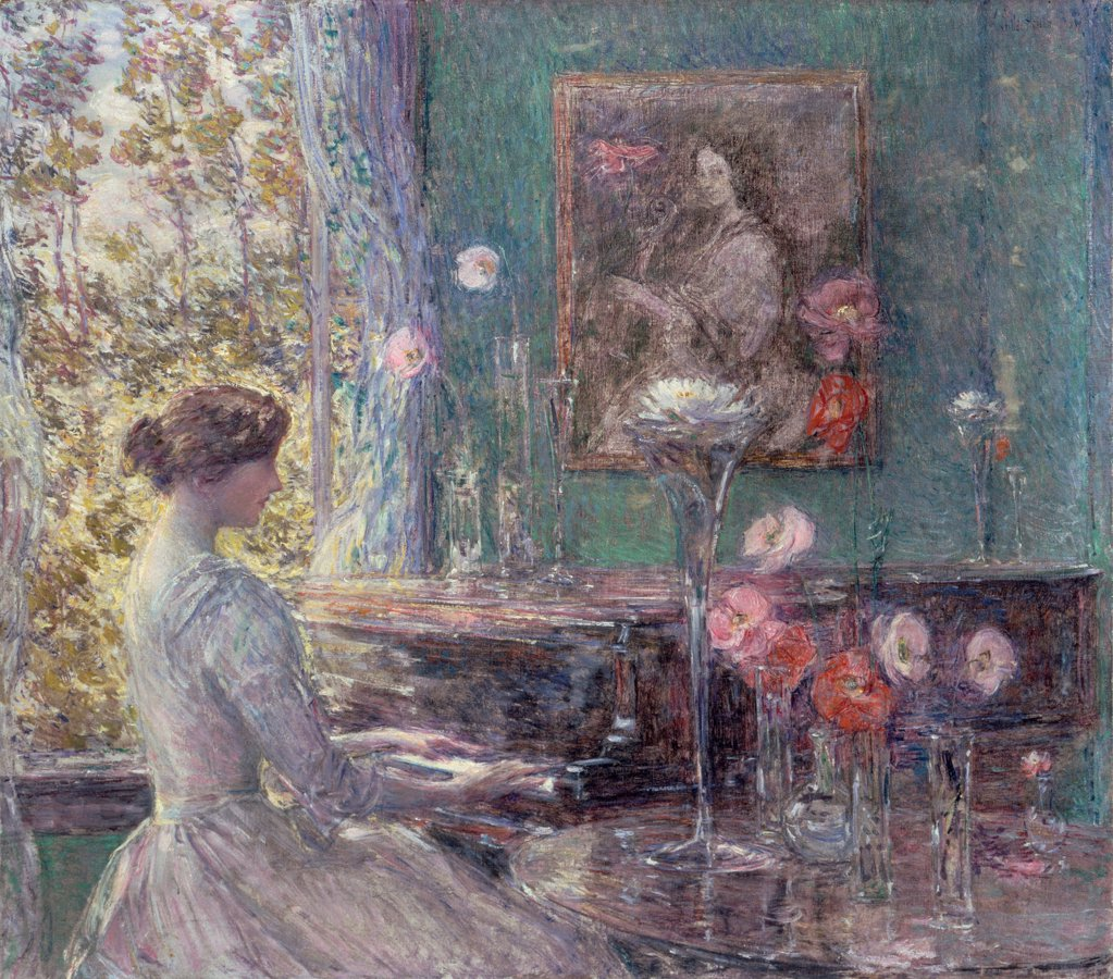 Stock Photo: 4266-25263 Improvisation by Hassam, Childe (1859-1935)\ Smithsonian National Museum\ 1899\ Oil on canvas\ 76,2x86\ The United States\ Impressionism\ Genre\ Painting