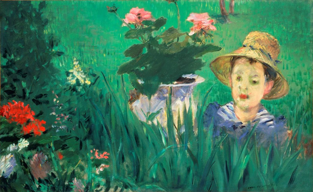 Boy in Flowers (Jacques Hoschede) by Manet, Edouard (1832-1883)\ National Museum of Western Art, Tokyo\ 1876\ Oil on canvas\ 60x97\ France\ Impressionism\ Portrait,Landscape,Genre\ Painting : Stock Photo