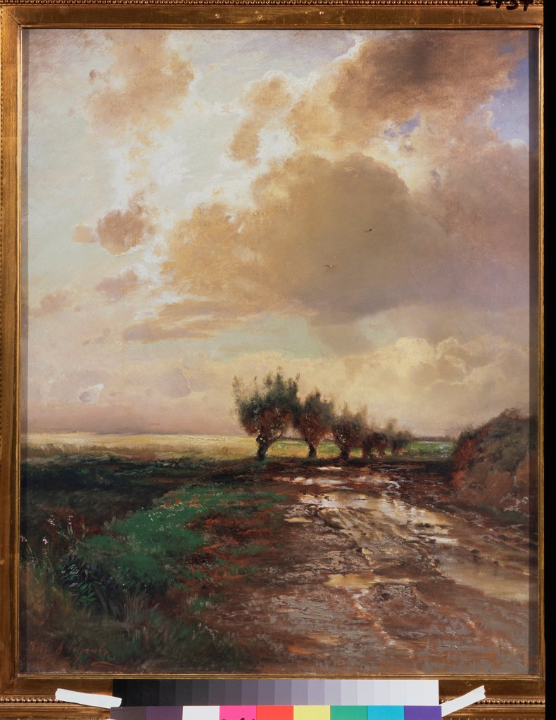 Stock Photo: 4266-25333 Country road by Savrasov, Alexei Kondratyevich (1830-1897)\ State Tretyakov Gallery, Moscow\ 1873\ Oil on canvas\ 70x57\ Russia\ Russian Painting of 19th cen.\ Landscape\ Painting