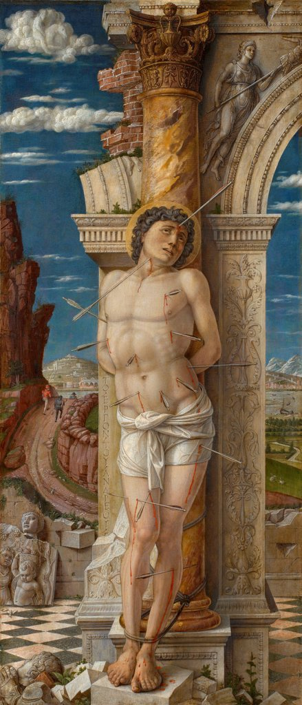 Saint Sebastian by Mantegna, Andrea (1431-1506)\ Art History Museum, Vienne\ ca 1459\ Oil on canvas\ 68x30\ Italy, School of Mantua\ Renaissance\ Bible\ Painting : Stock Photo