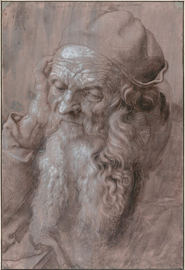 Stock Photo: 4266-25376 Head of an Old Man by Durer, Albrecht (1471-1528)\ Albertina, Vienna\ 1521\ Pen, brush, grey and brown ink, white colour on paper\ Germany\ Renaissance\ Portrait\ Graphic arts