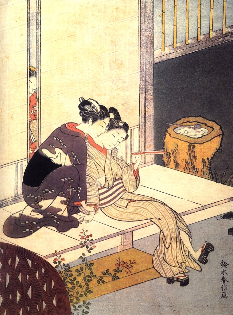 Two ladies on bed by Suzuki Harunobu, Colour woodcut, 1767-1768, 1724-1770, Private Collection : Stock Photo
