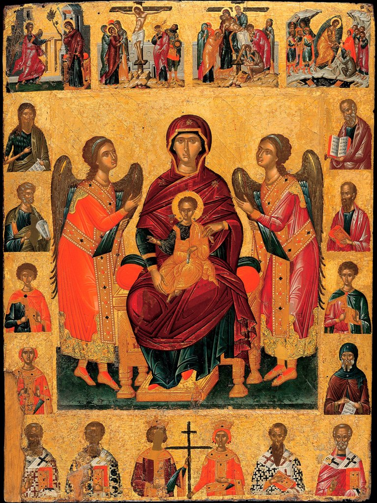 The Virgin and Child enthroned by Ritzos, Andreas (1421-1492)\ Benaki Museum, Athens\ Late 15th cen.\ Tempera on panel\ 87,5x64,8\ Byzantium\ Icon Painting\ Bible\ Painting : Stock Photo