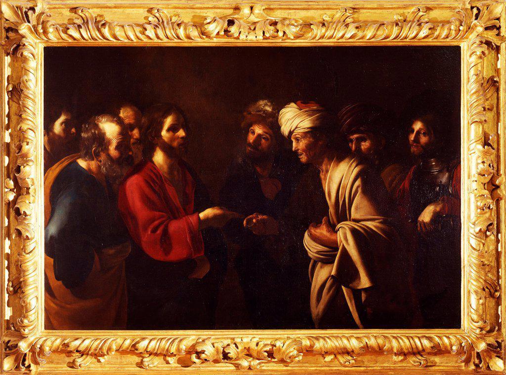 The Tribute Money by Manfredi, Bartolomeo (1587-1622)\ Galleria degli Uffizi, Florence\ c. 1615\ Oil on canvas\ 130x191\ Italy, Roman School\ Baroque\ Bible\ Painting : Stock Photo