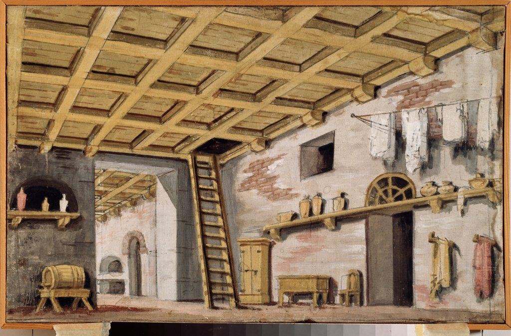 The kitchen. Stage design for a theatre play by Russian master  \ Museum Palace Theatre Ostankino, Moscow\ 1790s\ Tempera on canvas\ Russia\ Theatrical scenic painting\ Opera, Ballet, Theatre\ Painting : Stock Photo
