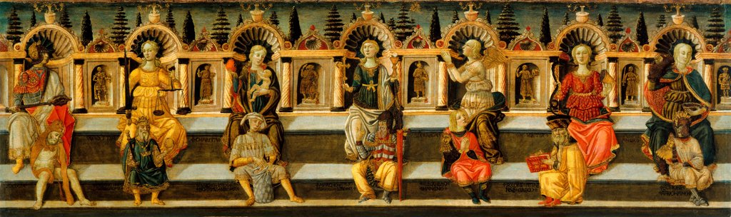 Stock Photo: 4266-25431 The Seven Virtues by Guidi (called Scheggia), Antonfrancesco (1441-1476)\ Museu Nacional d'Art de Catalunya, Barcelona\ c. 1467-1469\ Tempera on panel\ 49,8x159,3\ Italy\ Renaissance\ Bible,Mythology, Allegory and Literature\ Painting