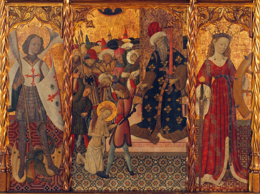 Stock Photo: 4266-25475 Saint Michael, Martyrdom of Saint Eulalia and Saint Catherine by Martorell, Bernat, the Elder (1390-1452)\ Museu Nacional d'Art de Catalunya, Barcelona\ ca 1442-1445\ Tempera on panel\ 143,5x188\ Spain\ Gothic\ Bible\ Painting