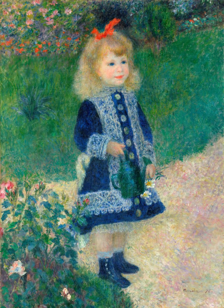 A Girl with a Watering Can by Renoir, Pierre Auguste (1841-1919)\ National Gallery of Art, Washington\ 1876\ Oil on canvas\ 100,3x73,2\ France\ Impressionism\ Portrait,Genre\ Painting : Stock Photo