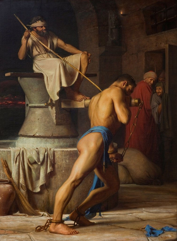 Stock Photo: 4266-25481 Samson and the Philistines by Bloch, Carl (1834-1890)\ Statens Museum for Kunst, Copenhagen\ 1863\ Oil on canvas\ 245,5x184\ Denmark\ Academic art\ Bible\ Painting