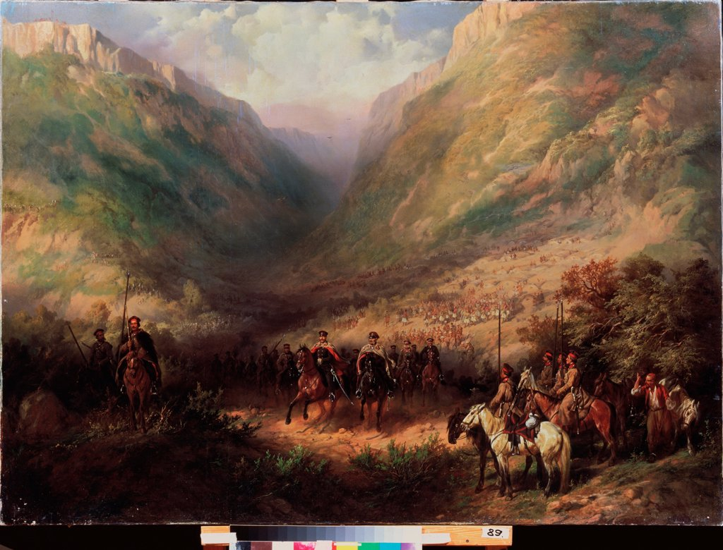 Stock Photo: 4266-25495 Emperor Alexander II with the Army in the Caucasian mountains by Russian master  \ M. Kroshitsky Art Museum, Sevastopol\ Oil on canvas\ 96,5x138\ Russia\ Russian Painting of 19th cen.\ History\ Painting