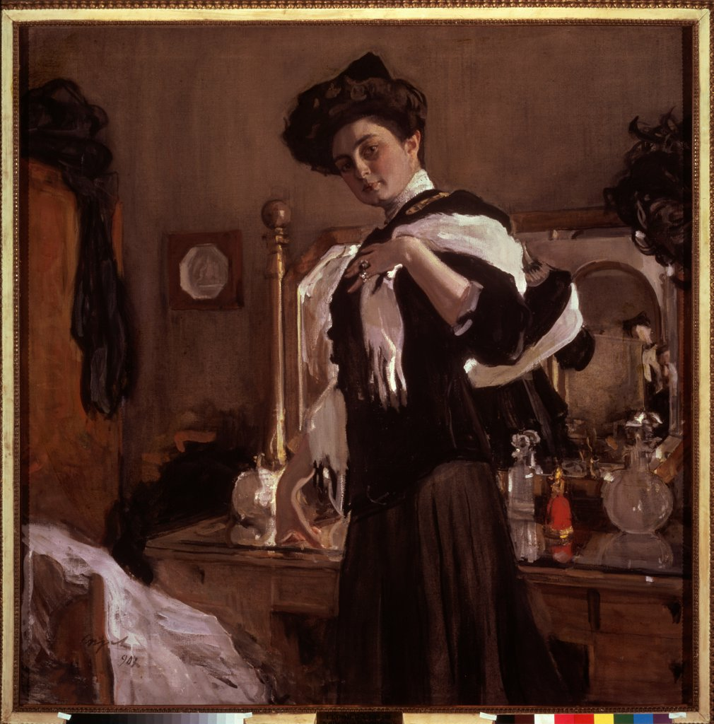 Stock Photo: 4266-25507 Portrait of Henrietta Hirshmann by Serov, Valentin Alexandrovich (1865-1911)\ State Tretyakov Gallery, Moscow\ 1907\ Tempera on canvas\ 140x140\ Russia\ Russian Painting, End of 19th - Early 20th cen.\ Portrait\ Painting