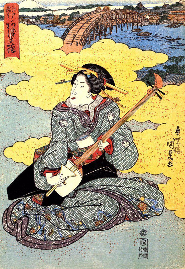 Stock Photo: 4266-2555 Playing women by Utagawa Kunisada (Toyokuni III), Colour woodcut, 1786-1865, Private Collection