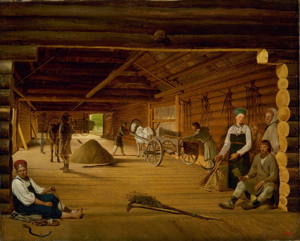 Stock Photo: 4266-25552 Threshing Barn by Venetsianov, Alexei Gavrilovich (1780-1847)\ State Russian Museum, St. Petersburg\ 1823\ Oil on canvas\ 66,5x80,5\ Russia\ Romanticism\ Architecture, Interior,Genre\ Painting