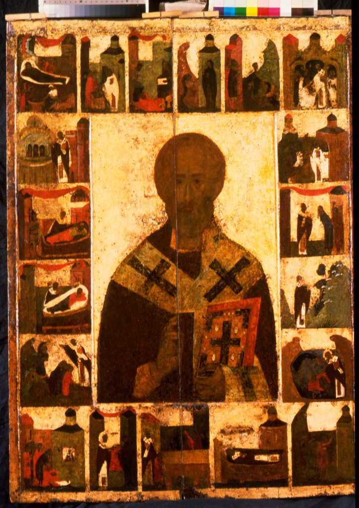 Stock Photo: 4266-25555 Saint Nicholas with scenes from his life \ Russian icon  \ State Tretyakov Gallery, Moscow\ 14th century\ Tempera on panel\ 158x108\ Russia, Novgorod School\ Russian icon painting\ Bible\ Painting